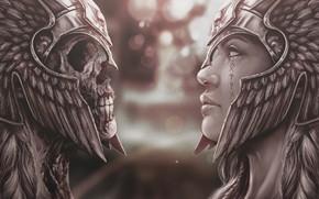 Picture Girl, Skull, Face, Girl, Dead, Warrior, Helmet, Fantasy, Mythology, Beautiful, Woman, Sake, Warrior, Fiction, Fiction, …