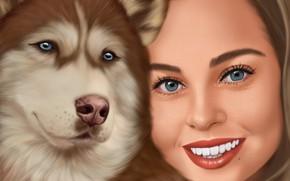 Picture girl, figure, portrait, dog, husky, illustration