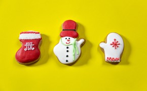 Picture winter, holiday, minimalism, sock, cookies, Christmas, three, New year, snowman, trio, yellow background, snowflake, cookies, …