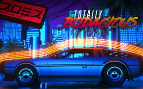 Picture Auto, Night, Machine, Style, DeLorean DMC-12, Art, Art, 80s, Style, DeLorean, DMC-12, Neon, Rendering, Illustration, …