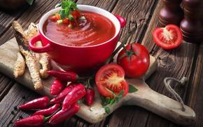 Picture bread, pepper, tomatoes, gazpacho