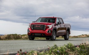 Picture red, roadside, pickup, GMC, Sierra, AT4, 2019