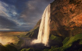 Picture the sky, rock, waterfall, Iceland, photographer Dmitry Kupratsevich