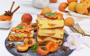 Picture pie, cinnamon, cakes, apricots, spices, biscuit