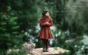 Picture cat, look, river, girl, coat, Anastasia Barmina