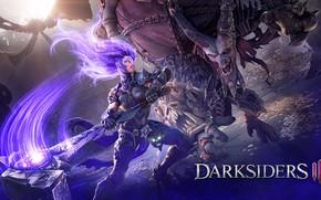 Picture girl, monster, hammer, rage, Fury, Darksiders 3, Darksiders III