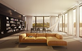 Picture interior, living room, dining room, Roche Bobois, flying interior