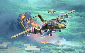 Picture North American, Bronco, American light attack aircraft, OV-10А, the first and main production version
