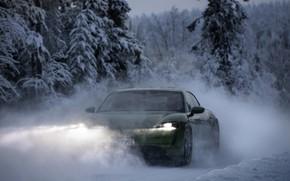 Picture light, snow, movement, Porsche, green, 2020, Taycan, Taycan 4S