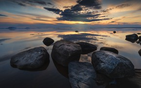 Picture Sunset, Water, Clouds, Reflection, The evening, Stones, Reservoir, Water Mirror, Okoem, Boulders, Reflections