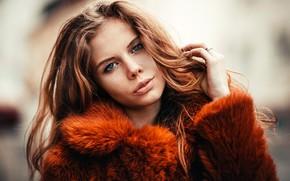 Picture look, background, model, portrait, makeup, hairstyle, coat, fur, brown hair, beauty, bokeh, Alexander Kowalski
