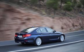 Picture BMW, sedan, mountain road, xDrive, 530d, Luxury Line, 5, dark blue, four-door, 2017, 5-series, G30