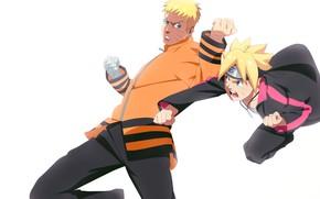 Picture father, Naruto, son, Uzumaki Naruto, Boruto, Boruto Uzumaki