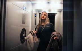 Picture pose, Girl, mirror, lift, Sasha Rusko
