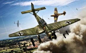 Picture Smoke, the bombing, Hawker Hurricane, dive bomber, Blitzkrieg 1940, bombs, Ju.87B-1, SC-50, SC-250, 9./StG51