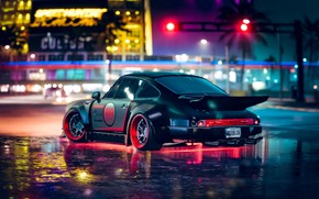 Picture neon, backlight, sports car