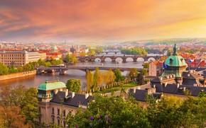 Picture river, home, Prague, Czech Republic, bridges, Vltava
