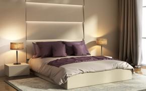 Picture design, bed, interior, bedroom, decor, lamps, bedrooms