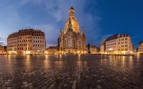 Picture building, the evening, Germany, Dresden, area, Church, Germany, Dresden, Frauenkirche, Frauenkirche, Neumarkt, Ноймаркт