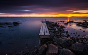 Picture sunset, coast, Norway