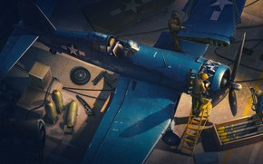 Picture The game, The plane, Fighter, People, Wings, USA, Bombs, Chance Vought F4U Corsair, F4U Corsair, …
