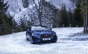 Picture snow, Jaguar, sedan, Jaguar XF, 2020, XF, on a mountain road