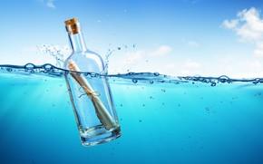 Picture sea, letter, the ocean, bottle, sea, ocean, blue, water, message, letter, bottle