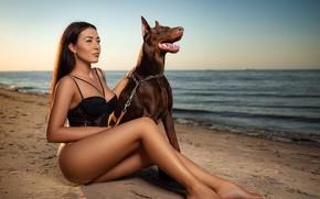 Picture sand, sea, beach, girl, pose, dog, legs, Sergey Gokk