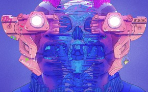Picture Color, Skull, Glasses, Style, Face, Helmet, Mask, Fantasy, Style, Color, Fiction, Fiction, Illustration, Sci-Fi, Cyberpunk, …