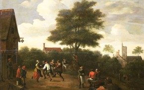 Picture oil, picture, David Teniers The Younger, 1700, Teniers, David II, Крестьянские Танцы