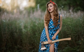 Picture summer, girl, face, style, background, dress, axe