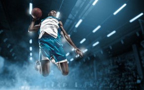 Picture light, lights, jump, sport, shorts, the ball, t-shirt, athlete, male, flight, hall, basketball, uniform, sneakers, …