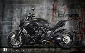 Picture motorcycle, red., black., The DEVIL, DUCATI