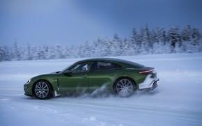 Picture winter, road, snow, Porsche, green, 2020, Taycan, Taycan 4S
