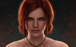 Picture girl, face, red, the enchantress, triss merigold, Wild Hunt, Witcher 3