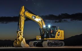 Picture the sky, light, night, lights, excavator, caterpillar, bucket, CAT, Caterpillar, construction equipment, the excavator boom, …