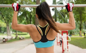 Picture girl, pose, street, back, figure, slim, girl, muscle, figure, pose, the horizontal bar, workout, fitness, …
