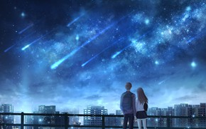 Picture girl, night, the city, guy, Starfall, OR