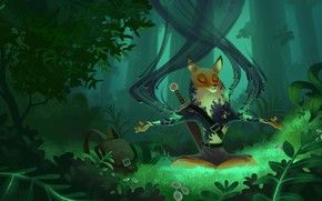 Picture forest, plants, Fox