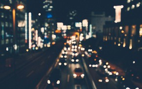Picture road, machine, night, the city, lights, movement, street, home, megapolis, bokeh