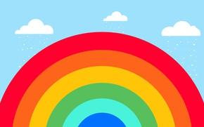 Picture clouds, rain, rainbow