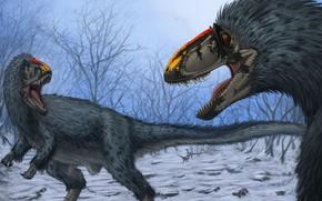 Picture Teeth, Two, Art, Grin, Predators, Dinosaurs, Древние животные, Ютираннус, Yutyrannus huali