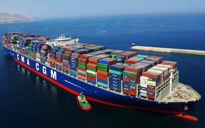 Picture Sea, Port, The ship, A container ship, Tank, Tug, CMA CGM, The breakwater, Vessel, Zaton, ...