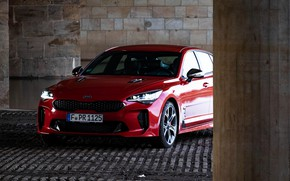 Picture red, Kia, the front part, the five-door, Stinger, Stinger GT, fastback