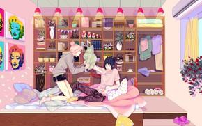 Picture room, morning, shelf, Naruto, Naruto, Sasuke Uchiha, Sakura Haruno