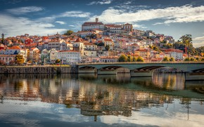 Picture bridge, the city, river, home, hill, Portugal, Coimbra, Александр Безмолитвенный