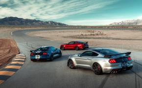 Picture the sky, clouds, mountains, machine, hills, coupe, turn, sports, track, Ford Mustang Shelby GT500, Speedway