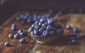 Picture berries, the dark background, table, Board, blueberries, bowl, placer
