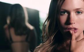 Picture girl, long hair, photo, blue eyes, model, bokeh, lips, face, brunette, January Jones, actress, mirror, …