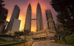Picture the city, the evening, tower, Malaysia, Kuala Lumpur